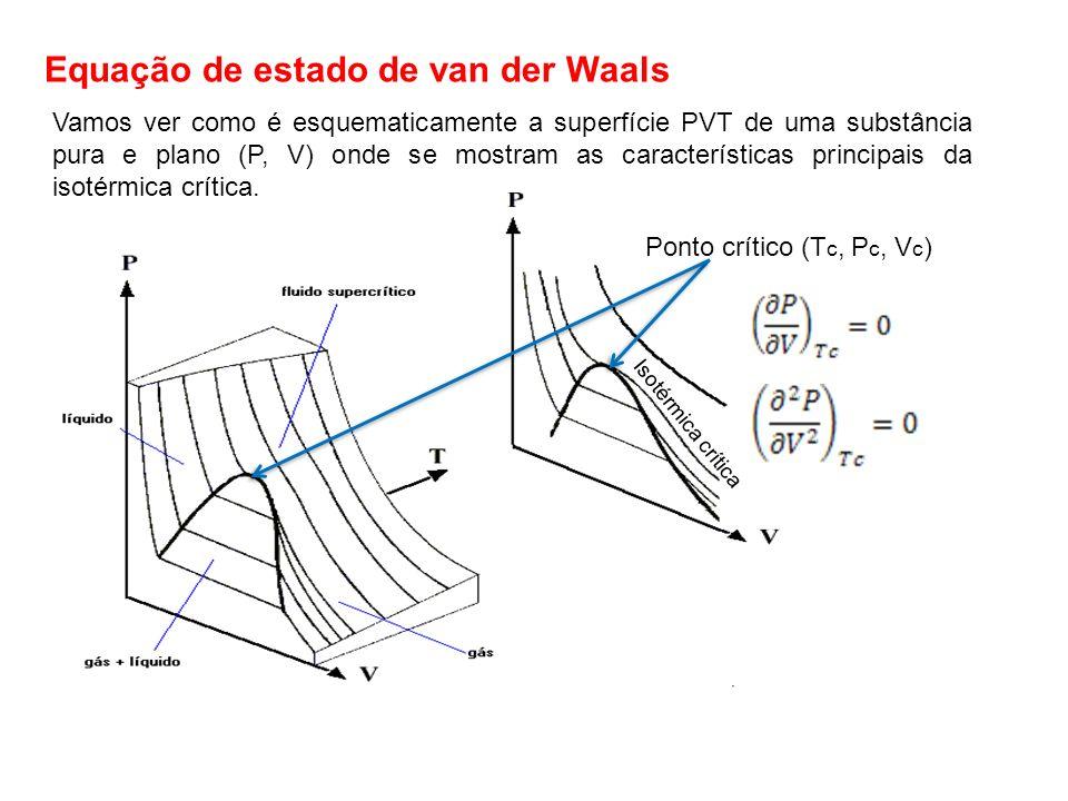 Equação de estado de van der Waals Vamos ver como é esquematicamente a superfície PVT de uma substância pura e plano (P, V) onde se mostram as caracte