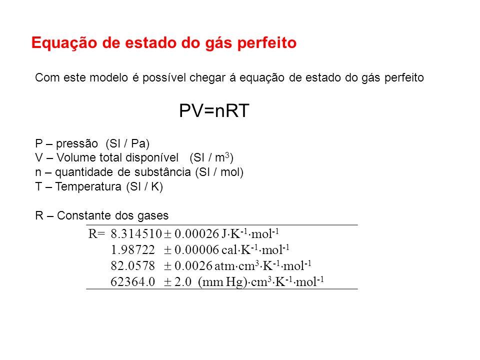 Com este modelo é possível chegar á equação de estado do gás perfeito PV=nRT P – pressão (SI / Pa) V – Volume total disponível (SI / m 3 ) n – quantid