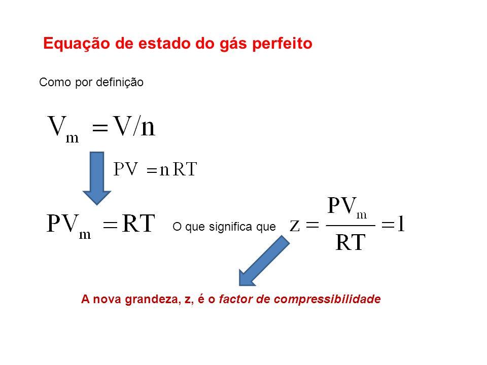 Como por definição O que significa que A nova grandeza, z, é o factor de compressibilidade
