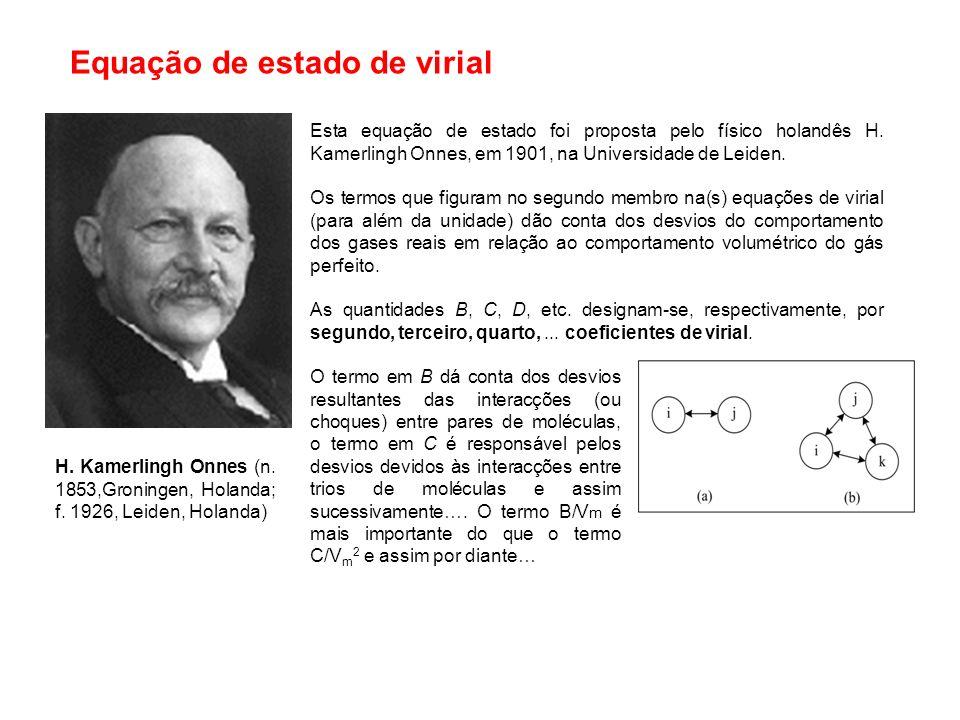 Equação de van der Waals na forma reduzida Características da equação de VDW: Na equação de VDW na forma reduzida não figuram os parâmetros a e b característicos de cada substância.