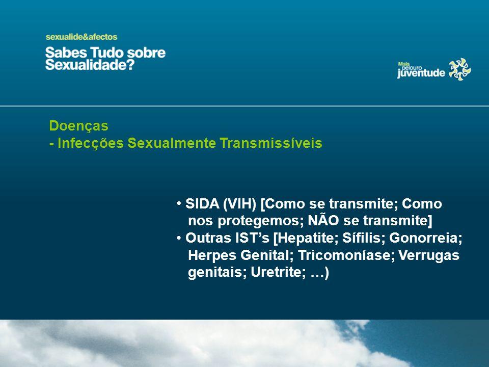 Doenças - Infecções Sexualmente Transmissíveis SIDA (VIH) [Como se transmite; Como nos protegemos; NÃO se transmite] Outras ISTs [Hepatite; Sífilis; G