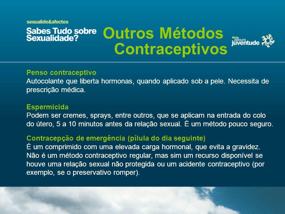 Penso contraceptivo Autocolante que liberta hormonas, quando aplicado sob a pele. Necessita de prescrição médica. Espermicida Podem ser cremes, sprays