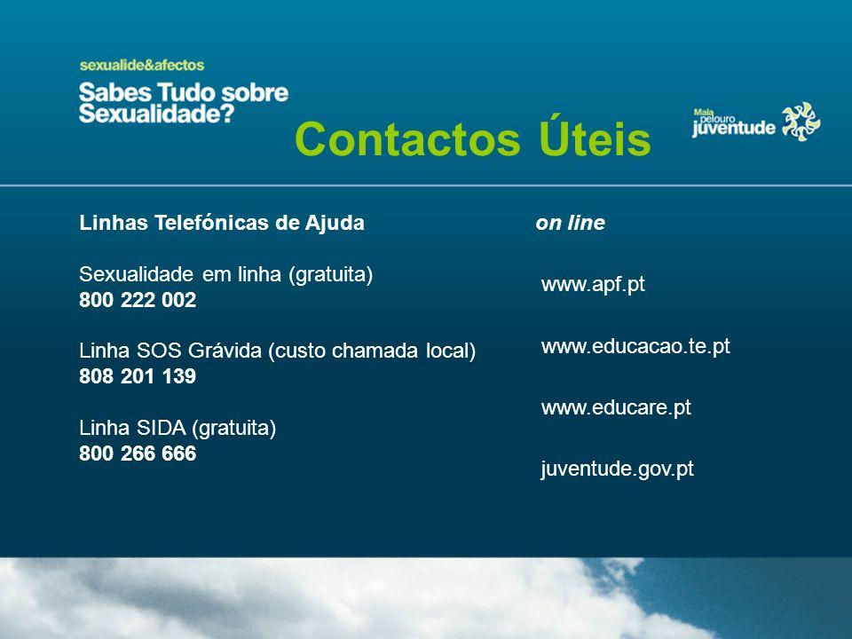 Contactos Úteis Linhas Telefónicas de Ajuda Sexualidade em linha (gratuita) 800 222 002 Linha SOS Grávida (custo chamada local) 808 201 139 Linha SIDA