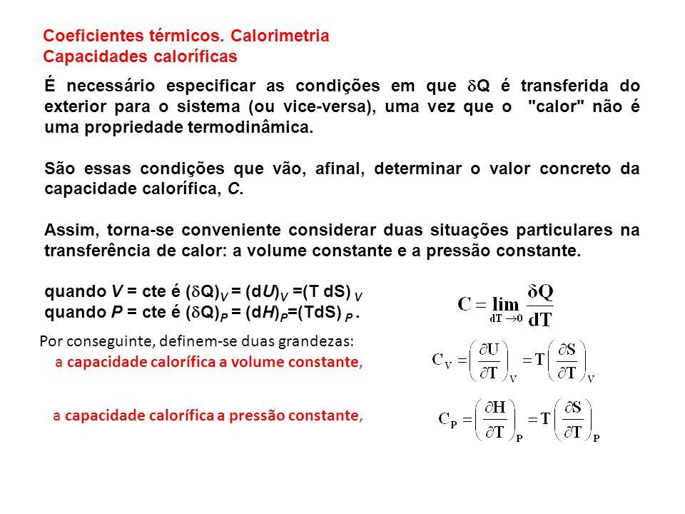 Capacidade calorífica do sólido (LEITURA OPCIONAL) C V,m /cal mol -1 K -1 T / K Capacidade calorífica de alguns sólidos.