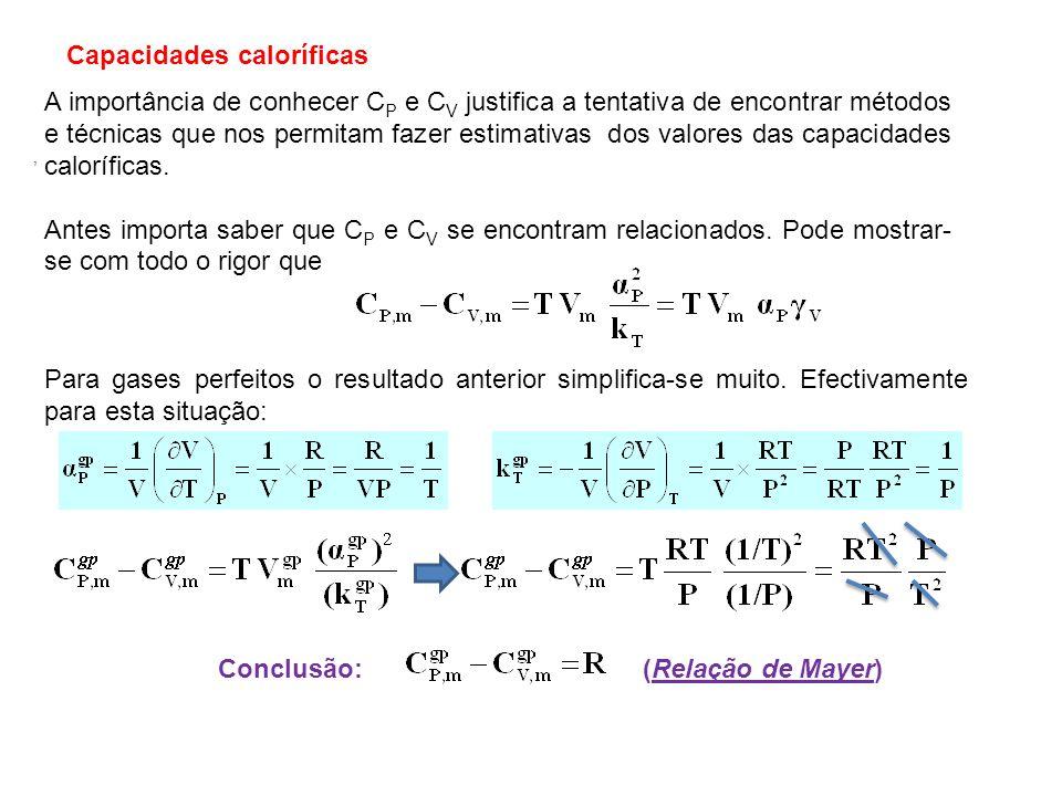 Capacidade calorífica do sólido Mostra-se na figura a seguir, o andamento de C V,m e C P,m com a temperatura para o argon sólido.