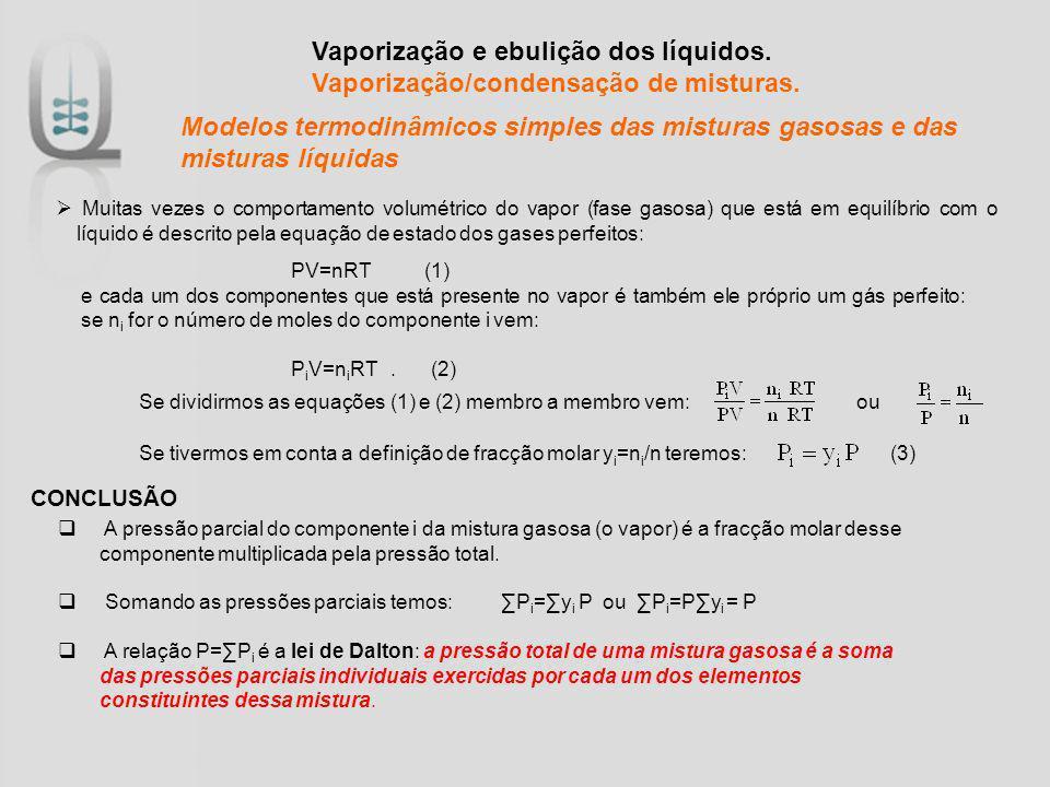 Vaporização e ebulição dos líquidos. Vaporização/condensação de misturas. Muitas vezes o comportamento volumétrico do vapor (fase gasosa) que está em