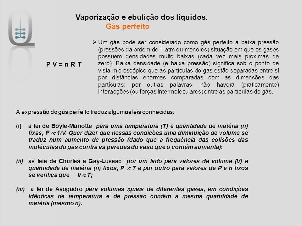 Vaporização e ebulição dos líquidos. Gás perfeito P V = n R T A expressão do gás perfeito traduz algumas leis conhecidas: (i)a lei de Boyle-Mariotte p