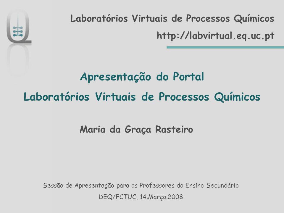 Sumário Breve apresentação do Portal Resumo do que podem encontrar os utilizadores do Ensino Secundário DEQ/FCTUC, 14.Março.2008 – M.
