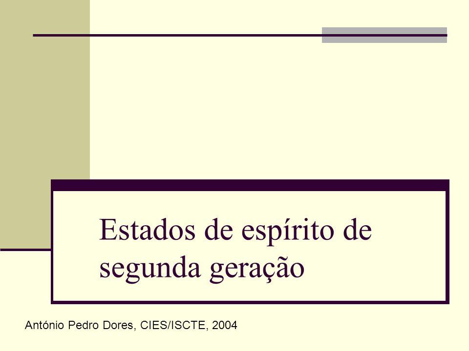 Estados de espírito de segunda geração António Pedro Dores, CIES/ISCTE, 2004