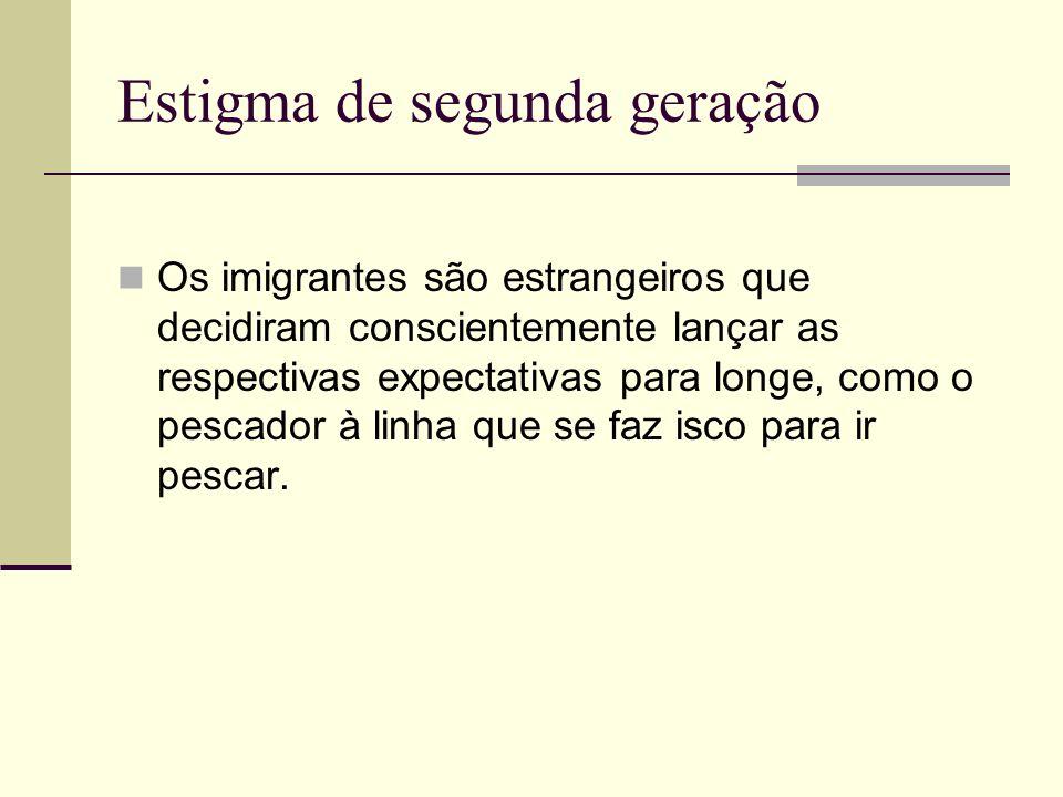 Estigma de segunda geração Os imigrantes são estrangeiros que decidiram conscientemente lançar as respectivas expectativas para longe, como o pescador à linha que se faz isco para ir pescar.