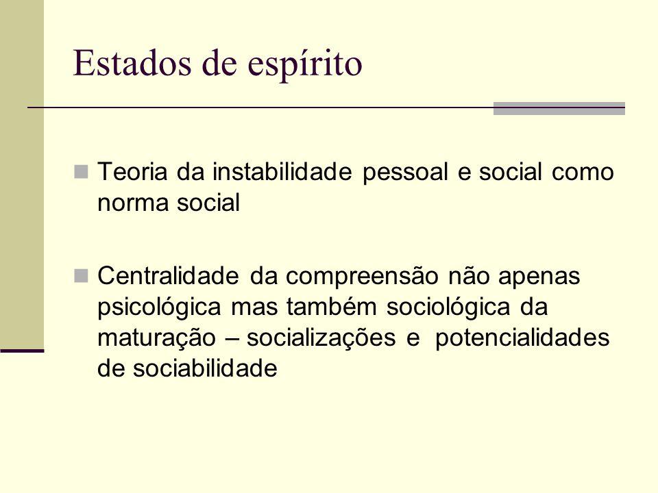 Estados de espírito Teoria da instabilidade pessoal e social como norma social Centralidade da compreensão não apenas psicológica mas também sociológica da maturação – socializações e potencialidades de sociabilidade