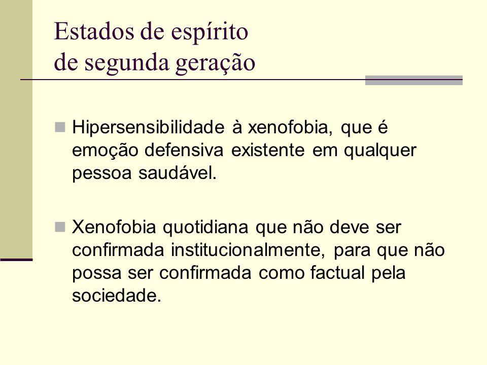 Estados de espírito de segunda geração Hipersensibilidade à xenofobia, que é emoção defensiva existente em qualquer pessoa saudável.