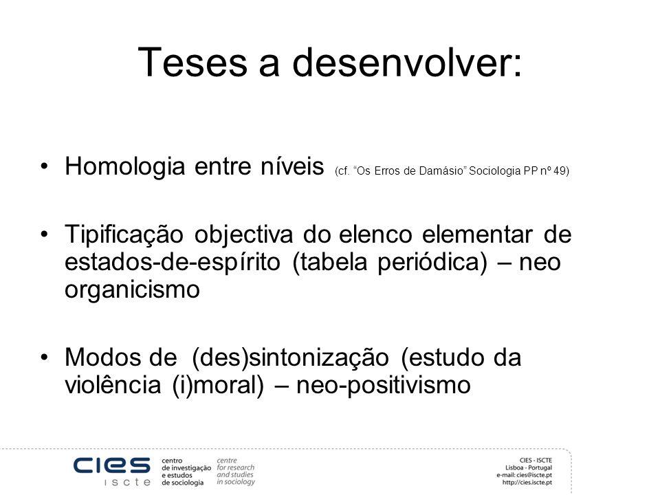 Teses a desenvolver: Homologia entre níveis (cf.