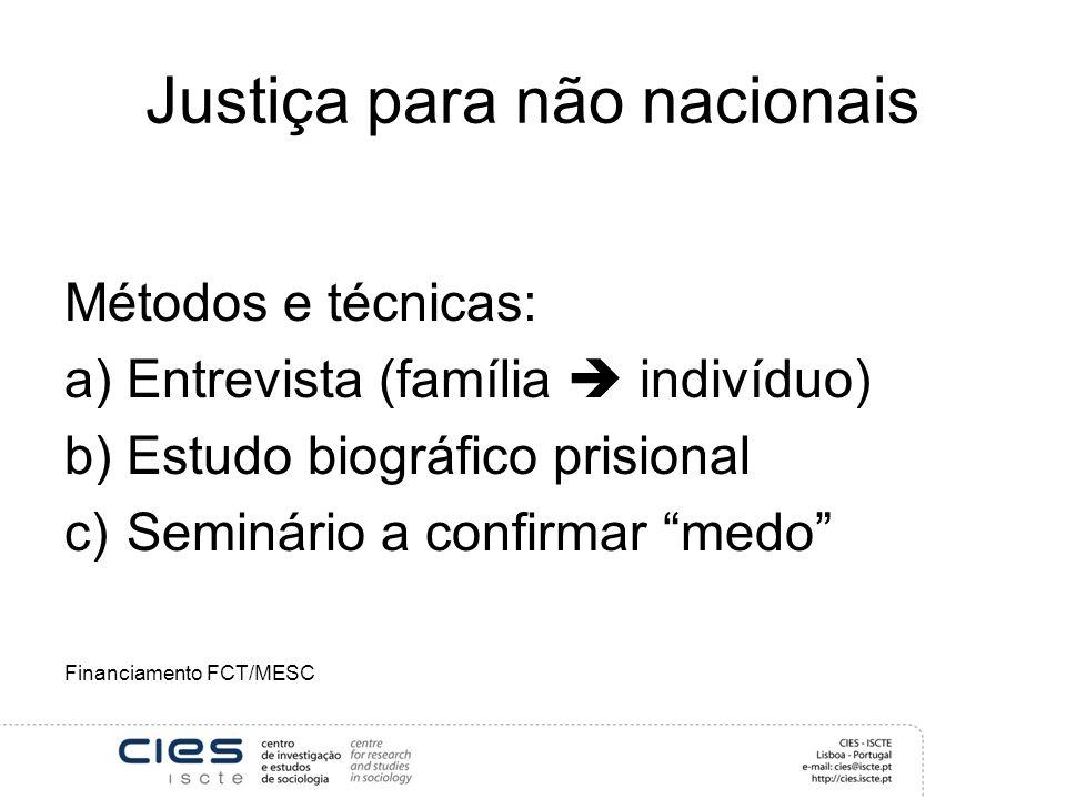 Justiça para não nacionais Métodos e técnicas: a)Entrevista (família indivíduo) b)Estudo biográfico prisional c)Seminário a confirmar medo Financiamento FCT/MESC