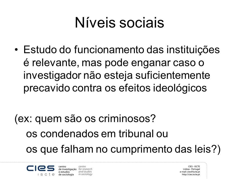 Níveis sociais Estudo do funcionamento das instituições é relevante, mas pode enganar caso o investigador não esteja suficientemente precavido contra os efeitos ideológicos (ex: quem são os criminosos.