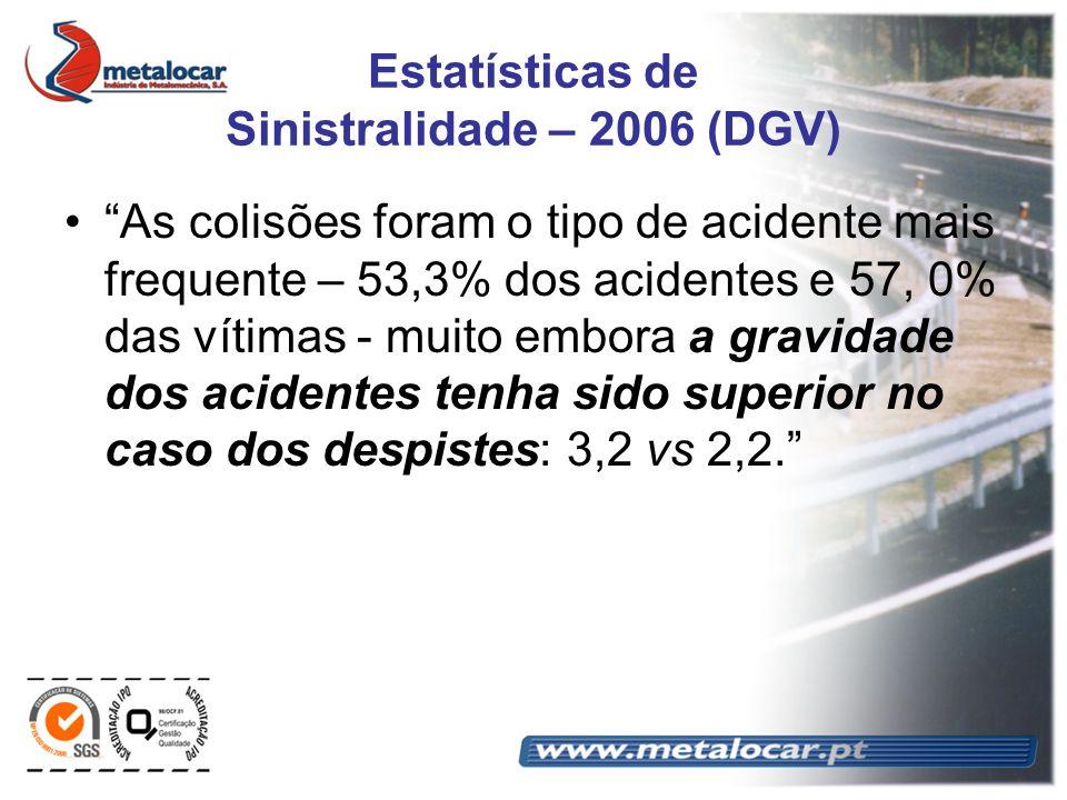 Estatísticas de Sinistralidade – 2006 (DGV) As colisões foram o tipo de acidente mais frequente – 53,3% dos acidentes e 57, 0% das vítimas - muito emb