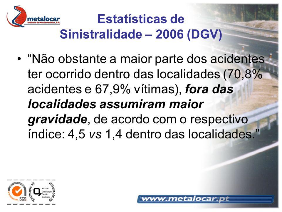 Estatísticas de Sinistralidade – 2006 (DGV) Não obstante a maior parte dos acidentes ter ocorrido dentro das localidades (70,8% acidentes e 67,9% víti