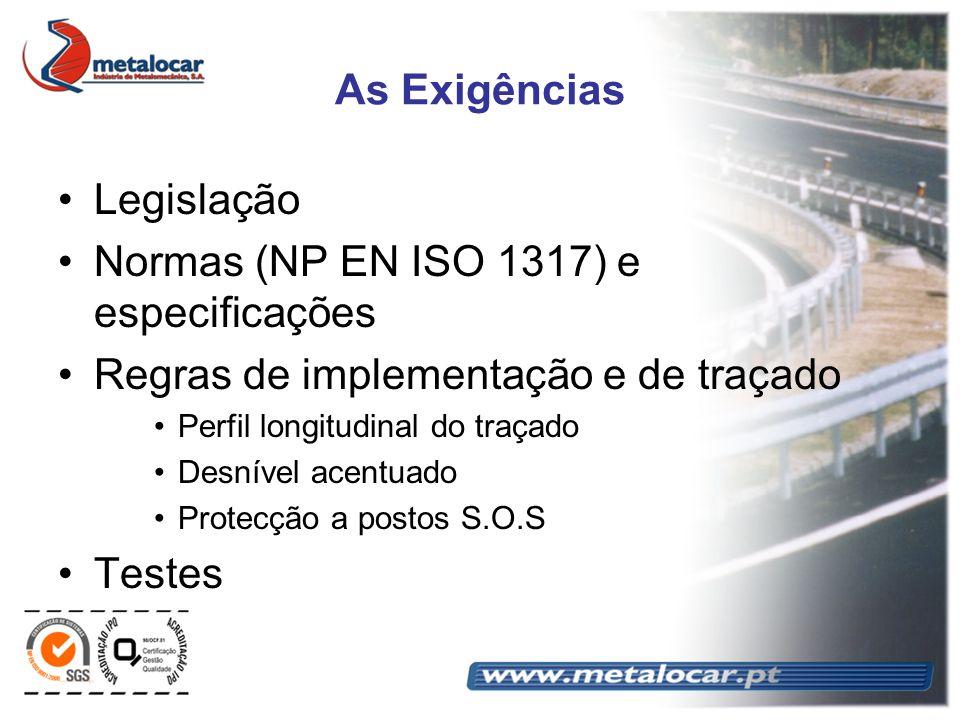 As Exigências Legislação Normas (NP EN ISO 1317) e especificações Regras de implementação e de traçado Perfil longitudinal do traçado Desnível acentua