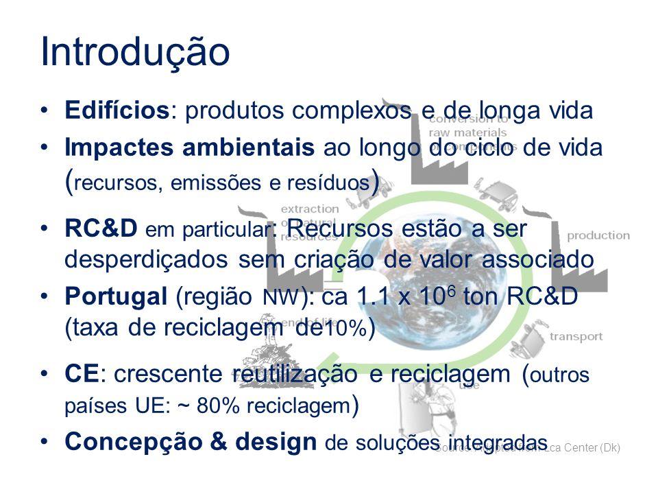 Introdução Source: Adapted from Lca Center (Dk) Edifícios: produtos complexos e de longa vida Impactes ambientais ao longo do ciclo de vida ( recursos