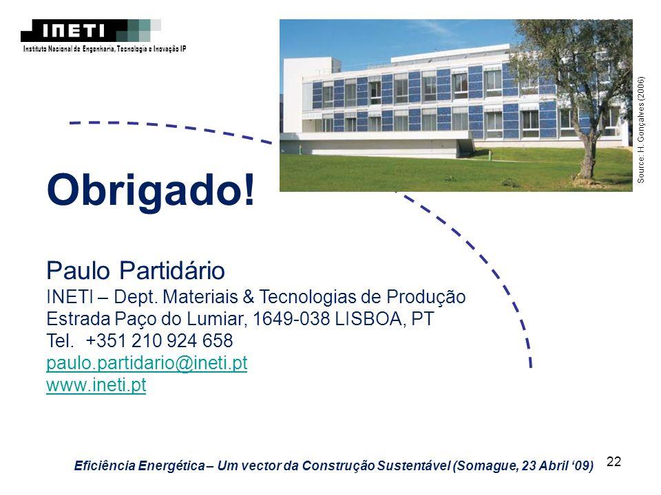 22 Instituto Nacional de Engenharia, Tecnologia e Inovação IP Eficiência Energética – Um vector da Construção Sustentável (Somague, 23 Abril 09) Sourc