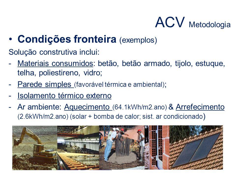 ACV Metodologia Condições fronteira (exemplos) Solução construtiva inclui: -Materiais consumidos: betão, betão armado, tijolo, estuque, telha, poliest