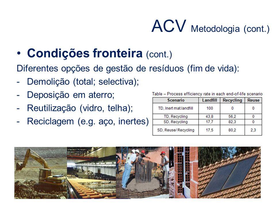 Condições fronteira (cont.) Diferentes opções de gestão de resíduos (fim de vida): -Demolição (total; selectiva); -Deposição em aterro; -Reutilização