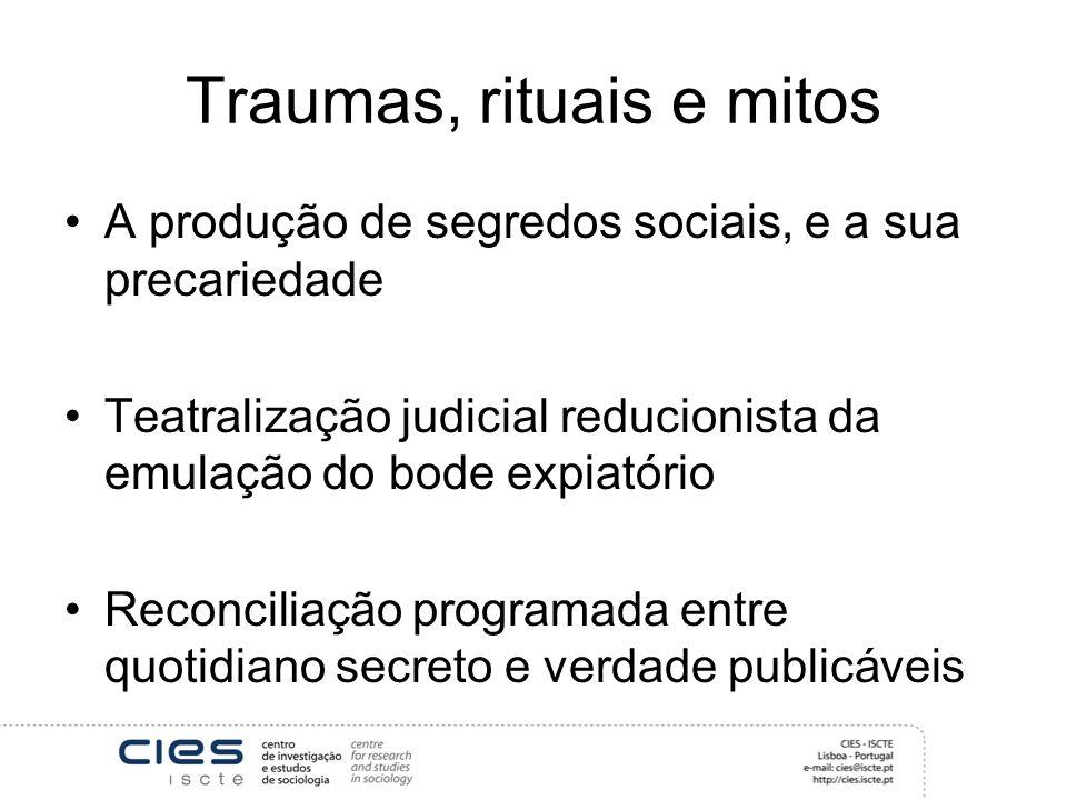 Traumas, rituais e mitos A produção de segredos sociais, e a sua precariedade Teatralização judicial reducionista da emulação do bode expiatório Recon