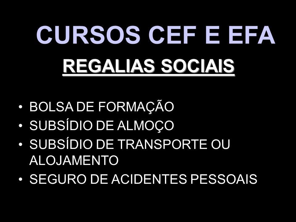 CURSOS CEF E EFA REGALIAS SOCIAIS BOLSA DE FORMAÇÃO SUBSÍDIO DE ALMOÇO SUBSÍDIO DE TRANSPORTE OU ALOJAMENTO SEGURO DE ACIDENTES PESSOAIS