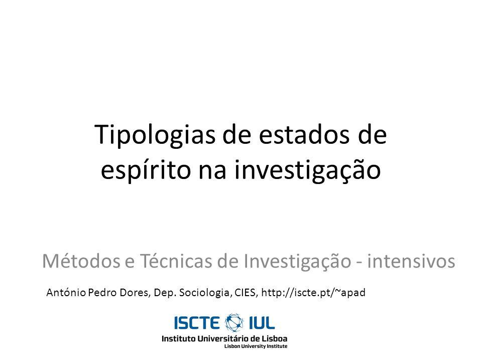 Tipologias de estados de espírito na investigação Métodos e Técnicas de Investigação - intensivos António Pedro Dores, Dep. Sociologia, CIES, http://i