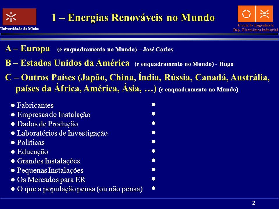 Escola de Engenharia Dep. Electrónica Industrial Universidade do Minho 2 1 – Energias Renováveis no Mundo A – Europa (e enquadramento no Mundo) – José