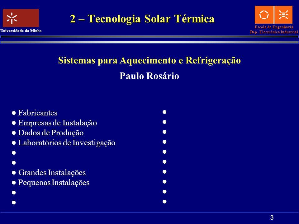 Escola de Engenharia Dep. Electrónica Industrial Universidade do Minho 3 2 – Tecnologia Solar Térmica Sistemas para Aquecimento e Refrigeração Paulo R