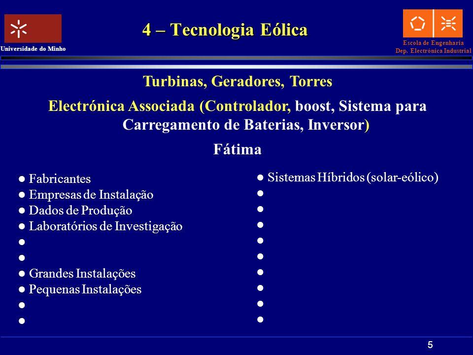 Escola de Engenharia Dep. Electrónica Industrial Universidade do Minho 5 4 – Tecnologia Eólica Turbinas, Geradores, Torres Electrónica Associada (Cont
