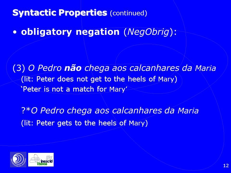 12 Syntactic Properties Syntactic Properties (continued) obligatory negation (NegObrig): (3) O Pedro não chega aos calcanhares da Maria (lit: Peter do