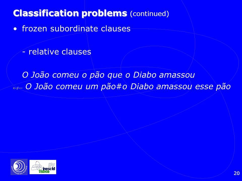 20 Classification problems Classification problems (continued) frozen subordinate clauses - relative clauses O João comeu o pão que o Diabo amassou /