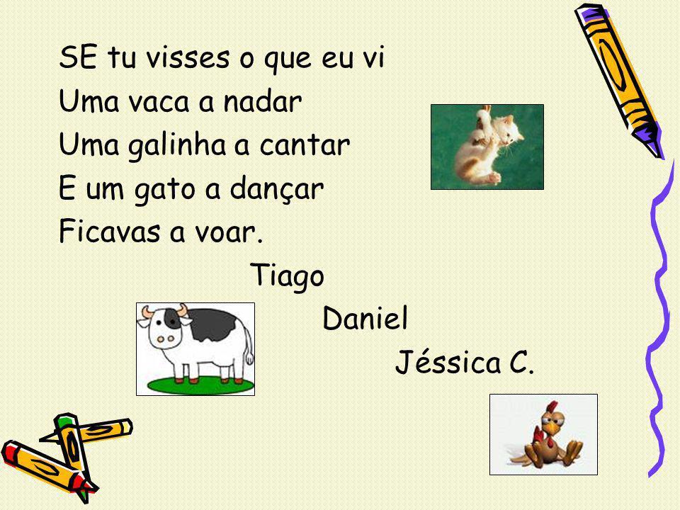 SE tu visses o que eu vi Uma vaca a nadar Uma galinha a cantar E um gato a dançar Ficavas a voar. Tiago Daniel Jéssica C.
