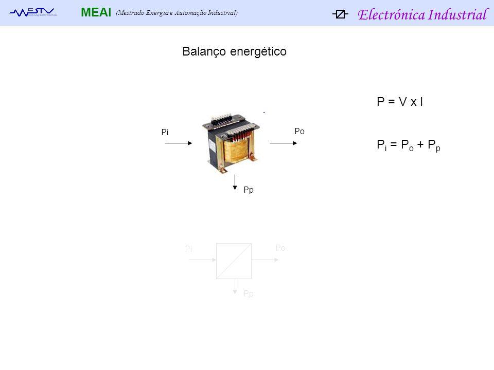 Electrónica Industrial MEAI (Mestrado Energia e Automação Industrial) Pi Po Pp Pi Po Pp Balanço energético P i = P o + P p P = V x I