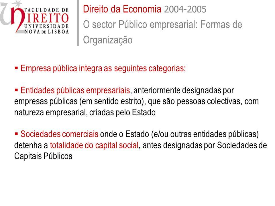 Direito da Economia 2004-2005 O sector Público empresarial: Formas de Organização Empresa pública integra as seguintes categorias: Entidades públicas