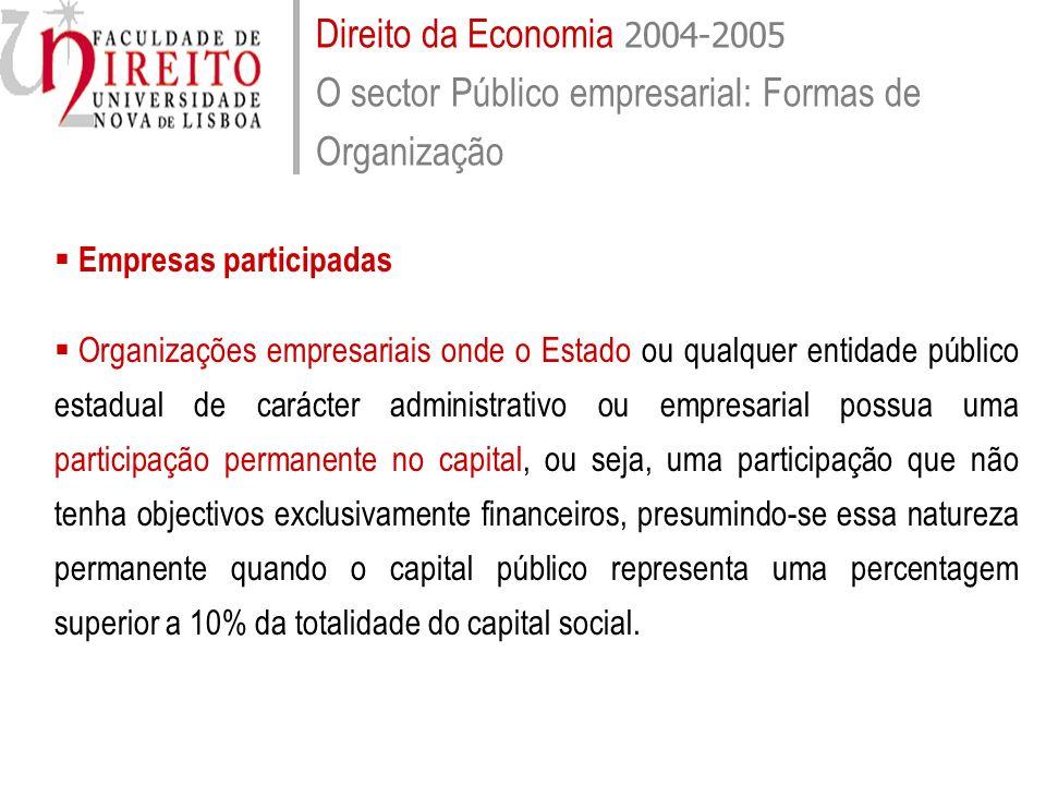 Direito da Economia 2004-2005 O sector Público empresarial: Formas de Organização Empresas participadas Organizações empresariais onde o Estado ou qua