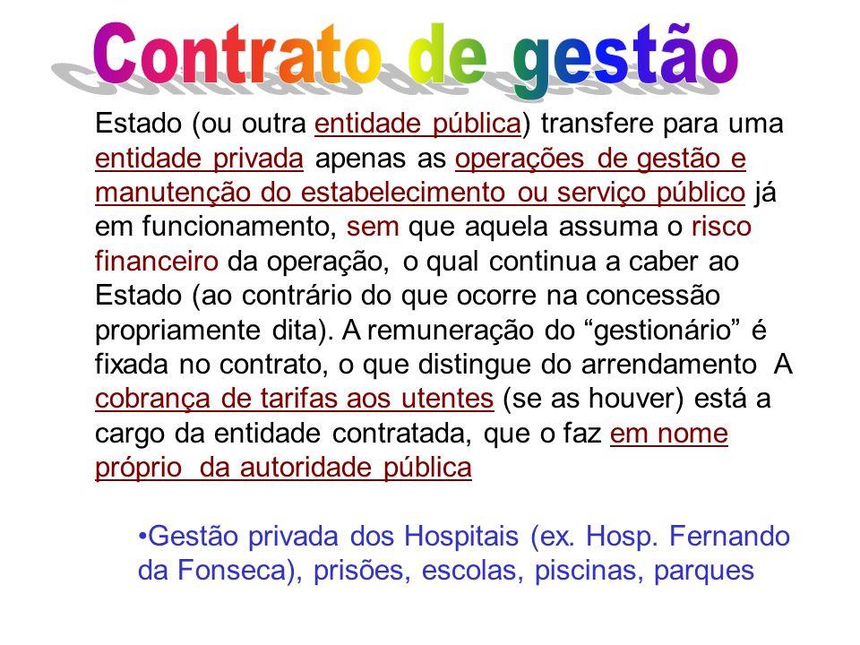 Estado (ou outra entidade pública) transfere para uma entidade privada apenas as operações de gestão e manutenção do estabelecimento ou serviço públic