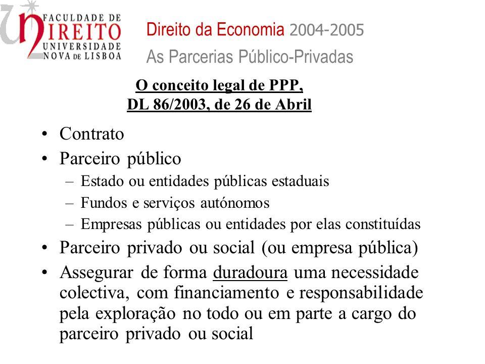 O conceito legal de PPP, DL 86/2003, de 26 de Abril Contrato Parceiro público –Estado ou entidades públicas estaduais –Fundos e serviços autónomos –Em