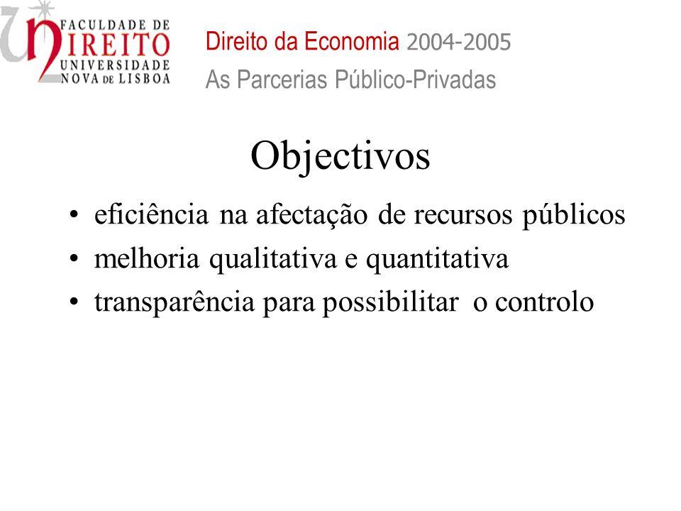 Objectivos eficiência na afectação de recursos públicos melhoria qualitativa e quantitativa transparência para possibilitar o controlo Direito da Econ