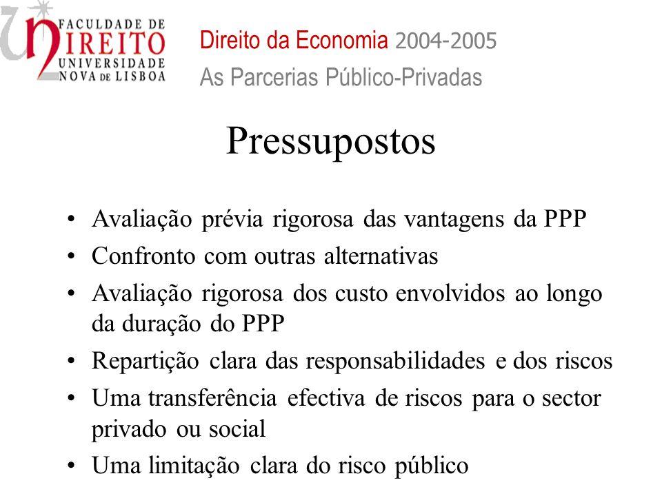 Pressupostos Avaliação prévia rigorosa das vantagens da PPP Confronto com outras alternativas Avaliação rigorosa dos custo envolvidos ao longo da dura
