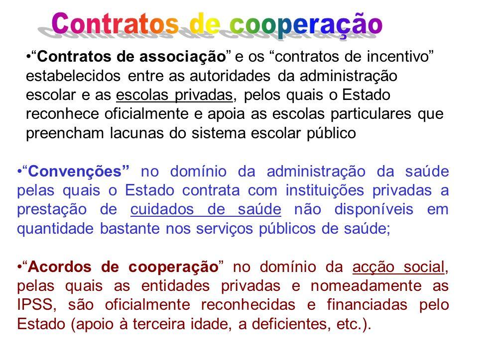 Contratos de associação e os contratos de incentivo estabelecidos entre as autoridades da administração escolar e as escolas privadas, pelos quais o E