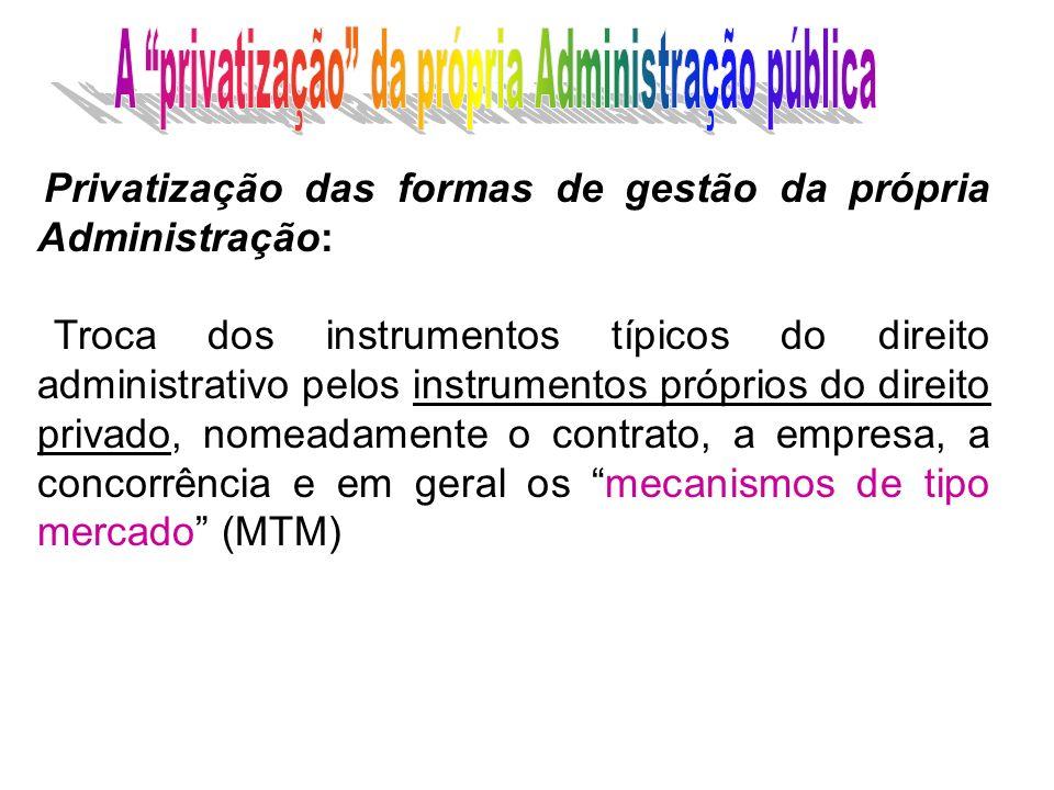 Privatização das formas de gestão da própria Administração: Troca dos instrumentos típicos do direito administrativo pelos instrumentos próprios do di