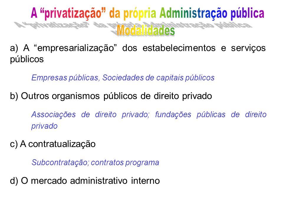 a) A empresarialização dos estabelecimentos e serviços públicos Empresas públicas, Sociedades de capitais públicos b) Outros organismos públicos de di
