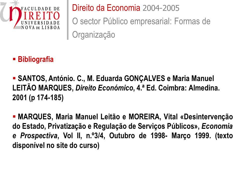 Direito da Economia 2004-2005 O sector Público empresarial: Formas de Organização Bibliografia SANTOS, António. C., M. Eduarda GONÇALVES e Maria Manue