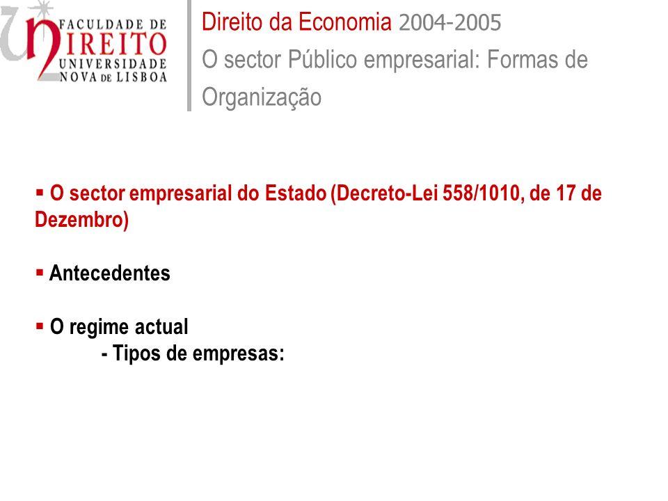 Direito da Economia 2004-2005 O sector Público empresarial: Formas de Organização O sector empresarial do Estado (Decreto-Lei 558/1010, de 17 de Dezem