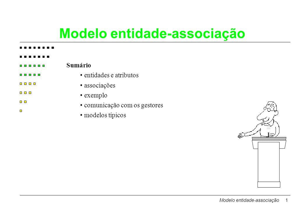 Modelo entidade-associação1 Sumário entidades e atributos associações exemplo comunicação com os gestores modelos típicos