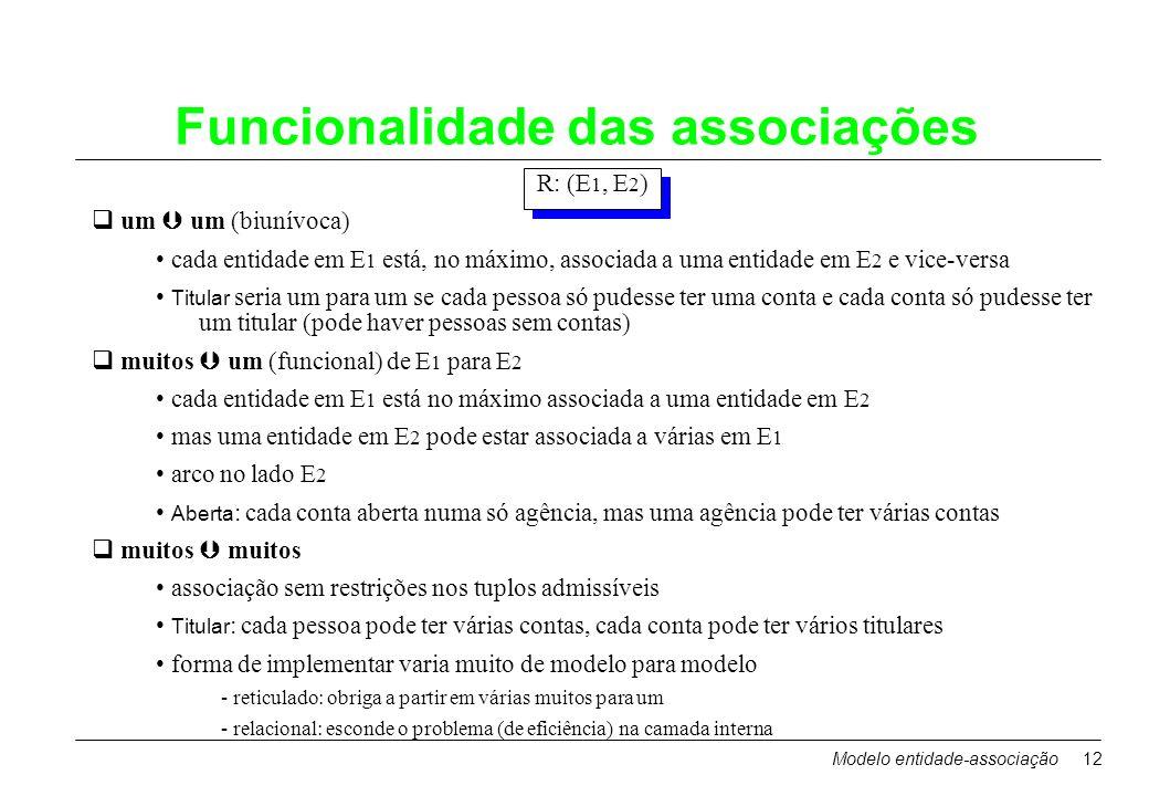 Modelo entidade-associação12 Funcionalidade das associações R: (E 1, E 2 ) um um (biunívoca) cada entidade em E 1 está, no máximo, associada a uma ent