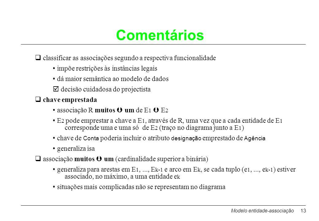 Modelo entidade-associação13 Comentários classificar as associações segundo a respectiva funcionalidade impõe restrições às instâncias legais dá maior